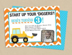 Printable Construction Theme Birthday Party Invitation 5x7 Tractor, Construction Worker, $15.00