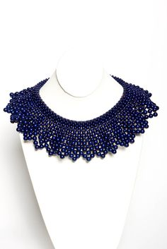 Ahhhhhh, now what fun could I have with this thing?! I wouldn't even know where to begin!  Royal Beaded Bib Necklace | a-thread #sapphire #navy