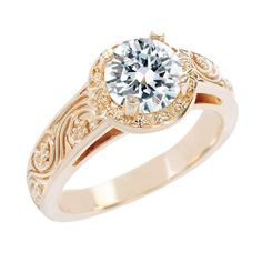 Justice Wedding Collection Justice Wedding Collection Yellow Gold Floral Halo Engagement Ring #justicejewelers