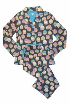 PJ Salvage Doughnut Grey Pajama Set@thinkher.com.  Love Doughnuts...You Will Love These Pajamas!