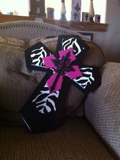 Large Hot Pink and Black Zebra Print Wood and Metal Cross. $35.00, via Etsy.