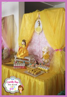 Belle at a Disney princess birthday party! See more party planning ideas at CatchMyParty.com!