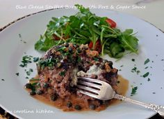 Blue Cheese Stuffed Burger with port Caper Sauce