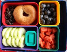 I like bagels a lot..(:  peanut butter in a bagel with some fruit and veggies on the side would be nice