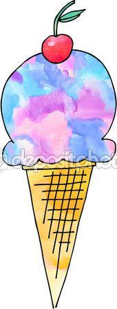 мороженое — Стоковое векторное изображение © Katerinastrofa #blog #candy #color #colorful #fashion #hot  #pictures #summer #top #vector  #watercolor #accessories #apparel #casual #design #fabric #grunge #illustration #lifestyle #men #modern #object #popularly #street #style #teenage #trendy #trial #women #cherry #icecream