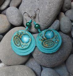 Earrings made of cloth with hand-painted...Ar-Mari Rubenian