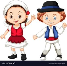 Romania girl and boy in traditional clothes vector image on VectorStock Cute Baby Dolls, Cute Babies, Doll Crafts, Traditional Outfits, Art Images, Paper Dolls, Vector Art, Clip Art, Cartoon