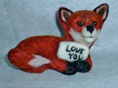 Red Fox needle felted soft sculpture by extrafinecreations on Etsy