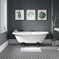 Dulwich back to wall roll top bath with black ball and claw feet 1700 x 750 Upstairs Bathrooms, Master Bathroom, Family Bathroom, Small Bathroom With Bath, Lodge Bathroom, Rental Bathroom, Modern Bathroom, Bathroom Styling, Bathroom Interior Design