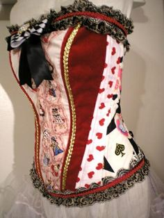 steampunk playing card corset | Playing cards Steel Boned Alice in Wonderland corset ... | corsets