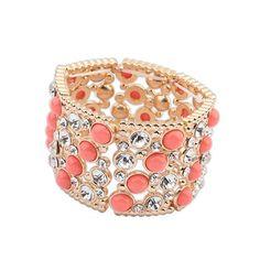 Red Gemstone Decorated Wide Elastic Design Alloy Fashion Bangles
