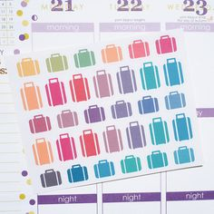 32 Travel Suitcases and Luggages Sticker Planner  // Perfect for Erin Condren Life Planner by FasyShop on Etsy