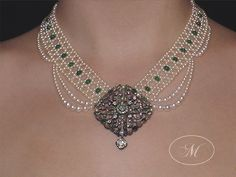 Woven Emerald and Seed Pearl Necklace with Antique Emerald Brooch - Marina J Jewelry