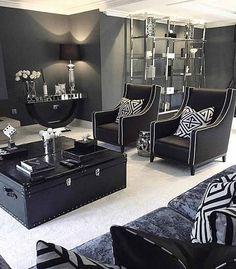 Art Deco Living Room Black And White Bw Glamorous