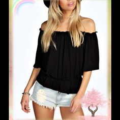 Soft & Stretchy 1/2 Sleeve Off Shoulder Black Top Such a great and versatile top! Goes with everything! UK Size 14 = US Size 10 Tops Blouses