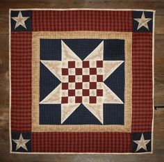 Quilted Wall Hanging Table Quilt Primitive Americana Checkered Star Homespun - More Variety Wall Quilts Available at Stoney Ridge Creations