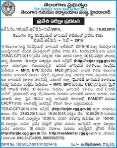 TSRJC-CET-2015 notification 2015-16 Entrance, Eligibility, AdmissionsTSRJC-CET-2015 notification 2015-16 Entrance, Eligibility, Admissions, Inter First year admissions into MPC, BiPC, MEC telangana, TSRJC-CET-2015 has been issued by the Telangana Government, Telangana Residential Educational Institutions Society of Hyderabad