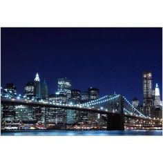 Brooklyn Bridge and Manhattan Skyline at Night, New York City II Photography by Eazl, Blue