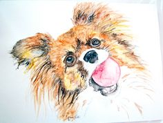 Papillon dog watercolor