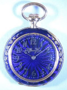 Tiffany 18K gold, diamond and enamel ladies antique pendant watch, circa 1890 I think the owner was a Timelord. Look at that TARDIS blue.