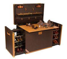Taking shoe care and storage to the next level Shoe Palace, Men Closet, Steamer Trunk, Shoe Storage, Shoe Caddy, Storage Ideas, Shoe Box, Dressing Room, Shoe Rack