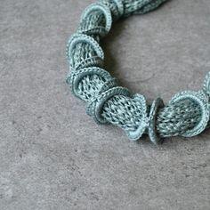 Details. Green - blue Aliquid Cotton Necklace. Textile Jewelry