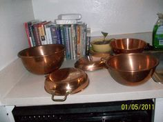Cooper Bowels and Pans in sunraysunny's Garage Sale in Bedford , TX for $75.00. I have one large,one medium,and one small copper bowls and two pans a crepe and a omelet pan all are in good shape. I am asking 75.00 OBO