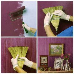Love this idea diy ideas, interior design, paint wall, paint ideas, wall textur, paint techniques, textured walls, painting techniques, accent wall