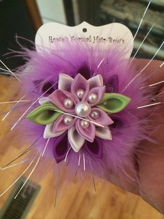 Hair Clip - Pink Purple Kanzashi Flower Girls Hair Accessories with tiny white pearl beads / wedding bridal pageant Handmade to Order RowesFormalHairBows