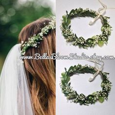 When ordering Please Input your event day in NOTE TO SELER (If date is not specified we will ship on the date specified by you order We schedule shipment 3 to 7 days prior to event Priority mail 1-3 day delivery for maximum freshness of the evergreen leaves .This beautiful handcrafted crown is created with boxwood succulent artificial leaves and real preserved baby breath flowers .The Crown is made with wired vine base made completely adjustable for easy fit And comfort 1 yard of flowing…