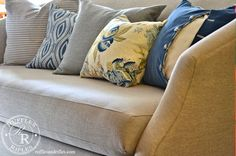 A bouquet of blue throw pillows and an invisible zipper tutorial.