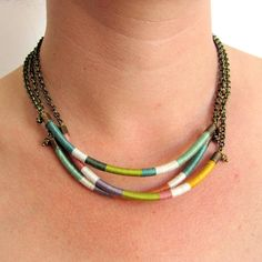 Ethnic tribal thread choker necklace, antique brass chain. Statement Necklace (3 pieces). Bib necklace on Etsy, $87.00