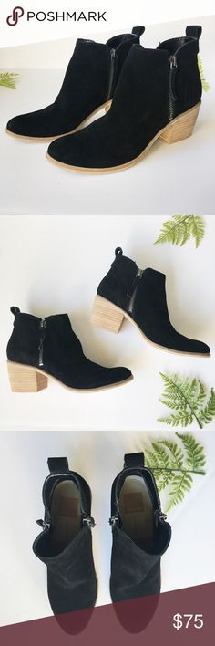 Dolce Vita Suede Booties Black suede Booties with zip closure on both sides. Wooden stacked heel. A wardrobe staple! New! Dolce Vita Shoes Ankle Boots & Booties
