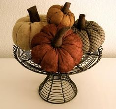 fabric pumpkin #tutorial -- I have one of these made of felt with a big green leaf and a stick hot glued for a stem