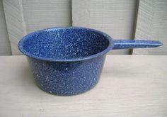 Old Vintage Primitive Graniteware / Enamelware Cook Pan Blue White Kitchen Tool  #Collectible