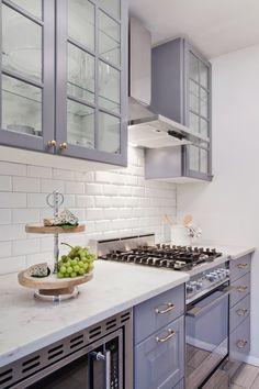 Glass door kitchen cabinets.