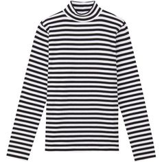Women Organic Cotton Stretch Stripe High Neck T-Shirt ($15) ❤ liked on Polyvore featuring tops, t-shirts, high neck tee, striped t shirt, stripe tee, organic cotton tops and striped top