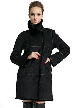 Ovonzo Womens Winter Style Soft Faux Suede Leather Pea Coat Hip Length Black Size XS >>> Visit the image link more details.