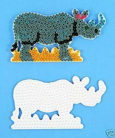 Hama bead rhino pegboard pattern Crafts For Kids, Arts And Crafts, Pearler Beads, Beading Patterns, Panda, Dinosaur Stuffed Animal, Rhinos, Fun Stuff, Projects