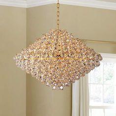 """Vienna Full Spectrum Essa 32"""" Wide Gold - Crystal Pendant - #6X919   Lamps Plus"""
