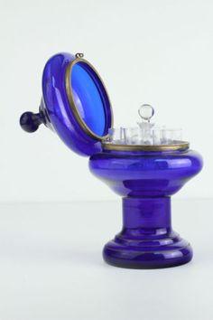 Antique French Cobalt Blue Blown Glass Cordial Set | eBay