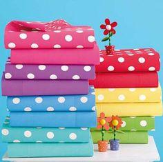 Roundup: Polka Dots at The Company Store Polka Dot Party, Polka Dots, Polka Dot Bathroom, Rainbow Bedding, Dot Day, Dots Fashion, The Company Store, Kids Bath, Rainbow Colors
