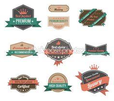 Vintage labels collection. Premium quality. Creative trendy design. Retro logo template high detail. Insignia Vector. Editable. — Stock Vector © sellingpix #26500349
