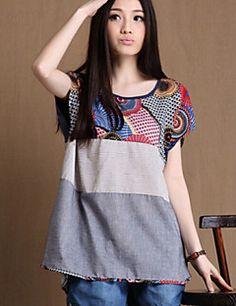 Mulheres Camiseta Casual Simples Verão,Estampado Rosa / Cinza / Amarelo Decote Redondo Manga Curta Fina