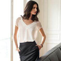 Blusa de mangas curtas em renda Laura Clement | La Redoute