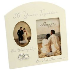 """Amazon.com - Contemporary """"30 Years Together"""" Then and Now Pearl Anniversary Frame By Haysom Interiors -"""
