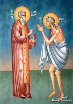 Mary of Egypt being communed by St. St Mary Of Egypt, Luke The Evangelist, Mac, Byzantine Icons, A Beast, Religious Icons, Orthodox Icons, Word Of God, Believe