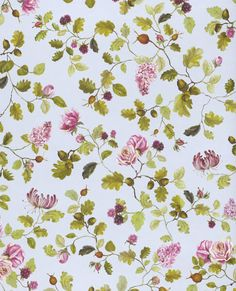 Floral wallpaper Rina reminds us of a lush summer garden with the scent of roses and sweet fruit.