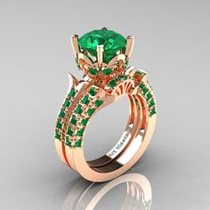 Classic French 14K Rose Gold 3.0 Ct Emerald Solitaire Wedding Ring Wedding Band Set R401S-14KRGEM