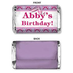 The #Ballet Beauty Mini Candy Bar Wrappers feature a purple with pink accents candy bar that features ballet slippers and your own custom text. #Ballerina